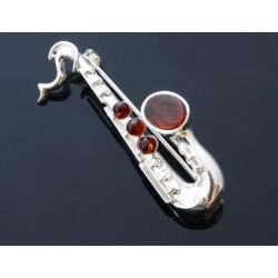 Broszka- srebrny saksofon z bursztynem AC74
