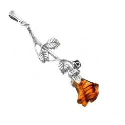 Wisiorek bursztynowa róża LG25
