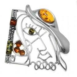 Srebrna broszka Picasso kapelusz z bursztynem AC106