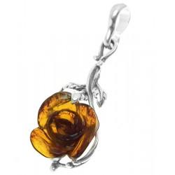 Srebrny wisiorek bursztynowa róża AC121
