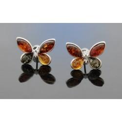 Kolczyki motyle z kolorowym bursztynem AP05