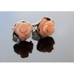 Róże srebrne kolczyki z barwionym koralem BN54
