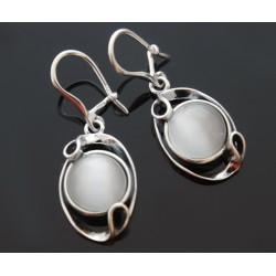 Kolczyki kocie oko w srebrnych zawijasach BN07