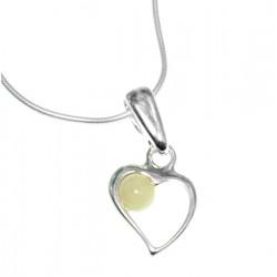 Serce z bursztynem srebrny wisiorek + łańcuszek AP09