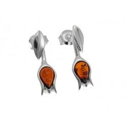 Tulipany srebrne kolczyki na sztyfty AC115