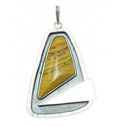 Unikatowy ręcznie robiony srebrny wisior z jaspisem