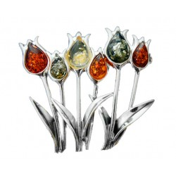 Broszka Tulipany kolorowy bursztyn AC118a