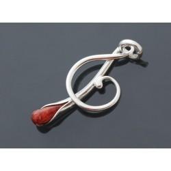 Klucz wiolinowy z koralem wisiorek LG79