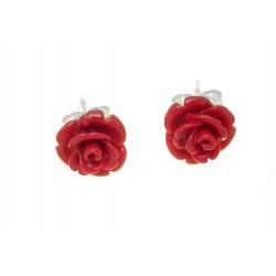 Kolczyki róże z koralem BN54
