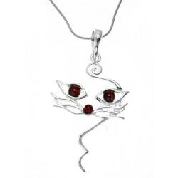 PYSZCZEK kota srebrny wisiorek z bursztynem AC10
