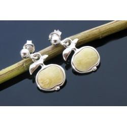 Jabłka srebrne kolczyki z bursztynem AP08