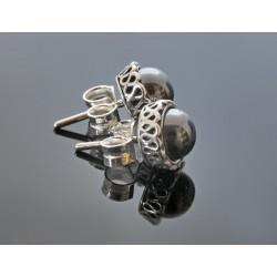 Kolczyki z hematytem w srebrnej koronce BN03